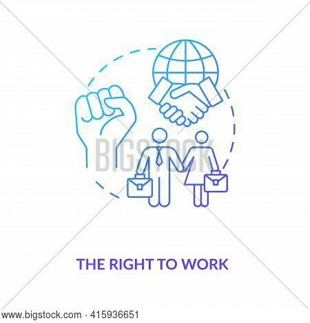 The Right To Work Blue Gradient Concept Icon. Labour Union. Equality For Gender. Male, Female Worker