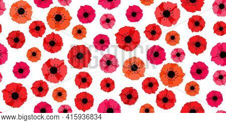 Seamless Pattern Red Poppies Isolated On White. Remembrance Day Lest We Forget. Anzac Day. Red Poppy