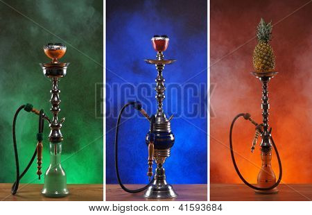 Different hookahs over the bright backgrounds with smoke