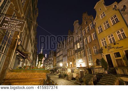 Gdansk, Poland, September 20: Typical Small Shops At Night In The Old Town Of Gdansk, September 2013