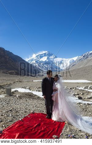 Everest Base Camp, Nepal, April 19: Chinese Couple During A Ceremony At The Everest Base Camp Site I