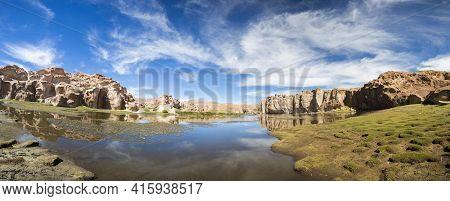 Paradise Landscape, Lake And Strange Rock Formations, Bolivia