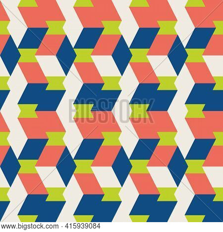 3d Isometric Cube Vector Seamless Pattern Background. Overlapping Vertical Folding Cubes Geometric.