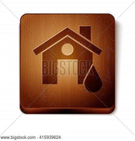 Brown House Flood Icon Isolated On White Background. Home Flooding Under Water. Insurance Concept. S
