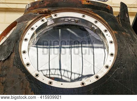 Moscow, Russia - November 28, 2018: Burnt land capsule after returning to the Earth in Space museum. Inside The Cosmonautics and Aviation Centre in the Cosmos pavilion of VDNH. Aircraft exhibition