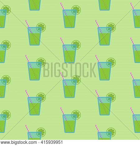 Mojito Cocktail Or Green Juice In Blue Glass With Striped Straw And Slice Of Lime, Seamless Pattern