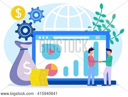 Vector Illustration In Flat Style. Online Transaction Settlement. Opening A New Startup. 2 Businessm