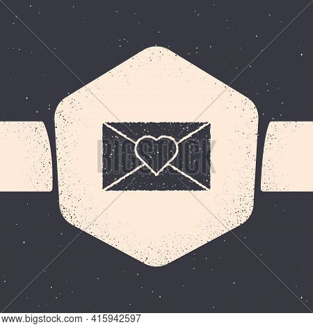 Grunge Envelope With Valentine Heart Icon Isolated On Grey Background. Message Love. Letter Love And