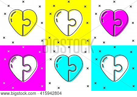 Set Heart Icon Isolated On Color Background. Romantic Symbol Linked, Join, Passion And Wedding. Vale