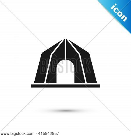 Grey Circus Tent Icon Isolated On White Background. Carnival Camping Tent. Amusement Park. Vector