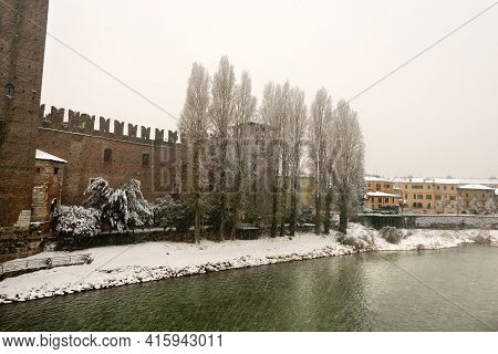 Castelvecchio. The Medieval Old Castle (scaligero, 1354-1356) In Verona Downtown And River Adige In