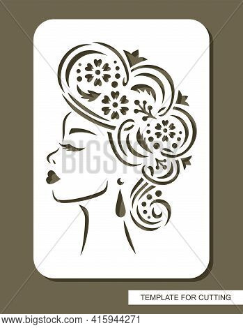 Stencil With A Woman's Face In Profile. The Head Of A Girl With Closed Eyes, Long Eyelashes, Beautif