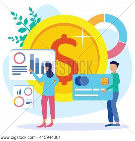 Vector Illustration Of Successful Entrepreneur. Growth Of Income And Profit As A Concept Of Financia