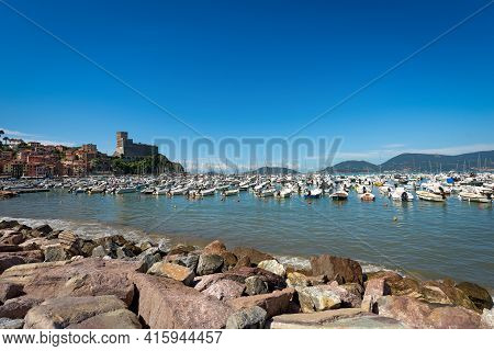 Port Of Lerici Town With Many Boats, Tourist Resort On The Cost Of Gulf Of La Spezia, Liguria, Italy