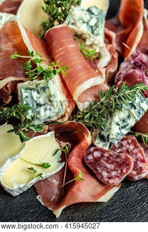 Italian Antipasti Wine Snacks Set. Cheese Variety, Janon, Crudo, Prosciutto Di Parma, Salami. Antipa