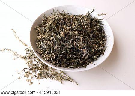 Dried Artemisia Vulgaris, The Common Mugwort. Mugwort Has Been Used Medicinally And As Culinary Herb