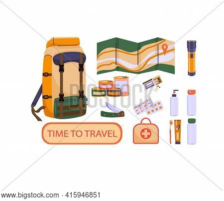Travel Set Of Colorful Images In Cartoon Style. Toothbrush Canned Food First Aid Kit Knife, Matches,
