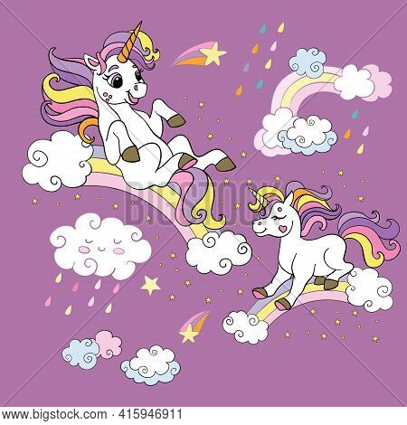 Two Funny Unicorns Rolling Down The Rainbows. Vector Colorful Illustration. For Party, Print, Baby S