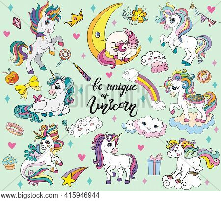 Set Of Cute Cartoon Unicorns And Magic Elements On Green Background. Vector Isolated Illustration Fo