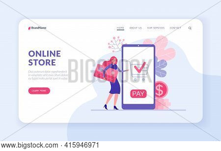 Online Store Landing Page Template. Woman Pays Online Purchase By Credit Card Illustration. Female C