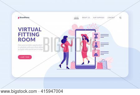Virtual Fitting Room Landing Page Website Banner Vector Template. Woman Trying Clothes In Web Applic