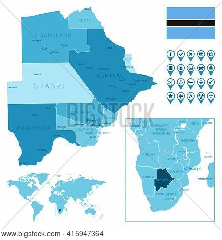 Botswana Detailed Administrative Blue Map With Country Flag And Location On The World Map. Vector Il