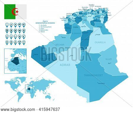 Algeria Detailed Administrative Blue Map With Country Flag And Location On The World Map. Vector Ill