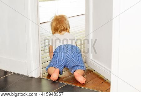 Toddler Crawl To The Room With View From Behind