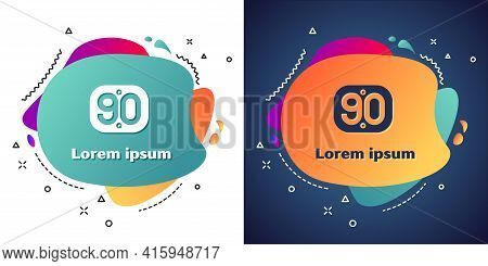 White 90s Retro Icon Isolated On White And Blue Background. Nineties Poster. Abstract Banner With Li