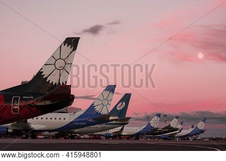 Minsk, Belarus, 07.04.2021: Horizontal Outdoor Picture With Vertical Stabilizers Of