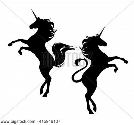 Beautiful Rearing Up Fairy Tale Unicorn Horse Silhouette - Standing Animal Black And White Vector De