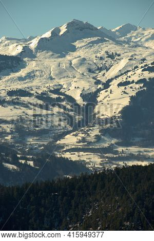 Incredible Snow Covered Mountain Panorama At The Rhine Canyon In The Area Of Flims In Switzerland 20