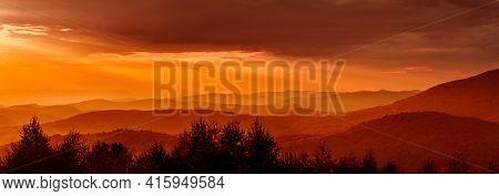 Mountain Peaks Sunset. Mountain peaks overlooking the sunset panorama