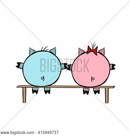 Pair Of A Pink Vector Piggy Fat Girl And A Blue Piggy Boy Sitting On A Bench Together On A White Bac