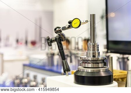 Accuracy And Precision Indicator Dial Gauge Setting On Stand Equipment And During Measuring Dimensio