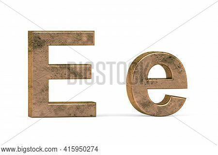 Brass 3d Letter E - Three Dimensional Uppercase And Lowercase E Covered With Old Brass Texture On Wh