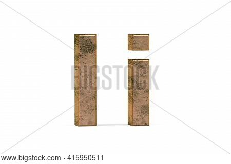 Brass 3d Letter I - Three Dimensional Uppercase And Lowercase I Covered With Old Brass Texture On Wh
