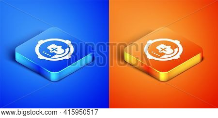 Isometric Headshot Icon Isolated On Blue And Orange Background. Sniper And Marksman Is Shooting On T