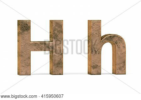 Brass 3d Letter H - Three Dimensional Uppercase And Lowercase H Covered With Old Brass Texture On Wh