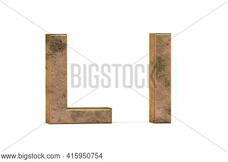 Brass 3d Letter L - Three Dimensional Uppercase And Lowercase L Covered With Old Brass Texture On Wh