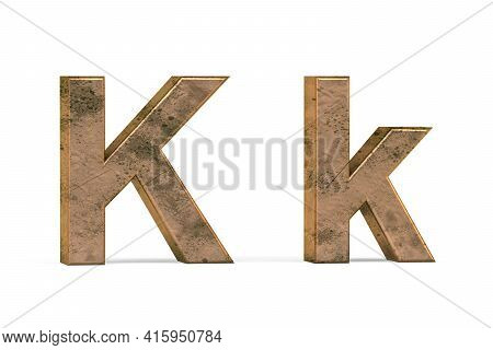 Brass 3d Letter K - Three Dimensional Uppercase And Lowercase K Covered With Old Brass Texture On Wh