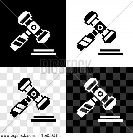 Set Judge Gavel Icon Isolated On Black And White, Transparent Background. Gavel For Adjudication Of