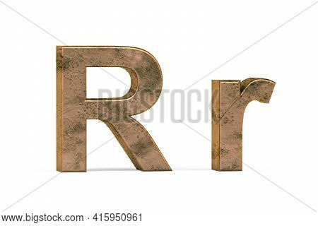 Brass 3d Letter R - Three Dimensional Uppercase And Lowercase R Covered With Old Brass Texture On Wh