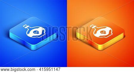 Isometric Poison In Bottle Icon Isolated On Blue And Orange Background. Bottle Of Poison Or Poisonou