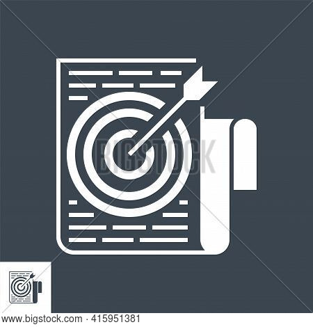 Target Keywords Related Vector Glyph Icon. Isolated On Black Background. Vector Illustration.