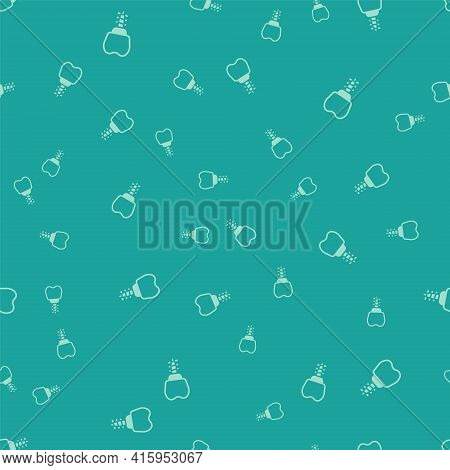 Green Dental Implant Icon Isolated Seamless Pattern On Green Background. Vector