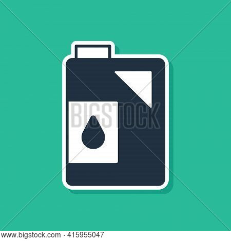 Blue Canister For Motor Machine Oil Icon Isolated On Green Background. Oil Gallon. Oil Change Servic