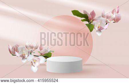 Magnolia Branch Pink Vernal Flower Tree Bloom