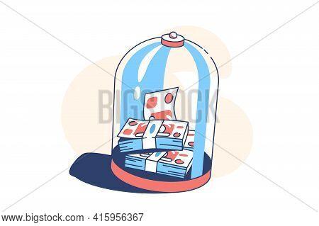 Money Under Glass Dome Vector Illustration. Pack