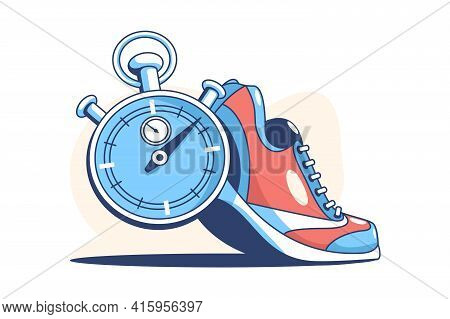 Sneaker And Stop Watch Vector Illustration. Comfy